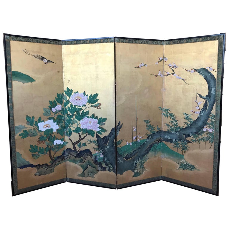 Japanese Gold Leaf Screen For Sale