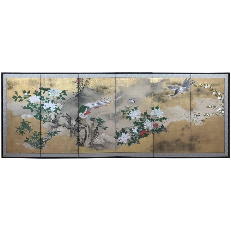 Six-Panel Japanese Screen For Sale