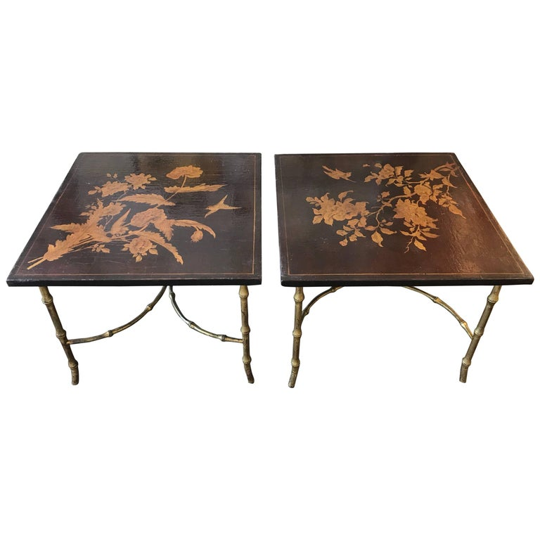Pair of Chinoiserie Lacquer Side Tables For Sale