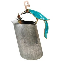 Silvered Brass and Copper Pitcher, Turquoise Coral, Los Castillo Taxco, Mex 1960