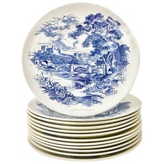 """1950'Ss Wedgwood England Set of 12 Dinner Plates """"Countryside Blue"""""""