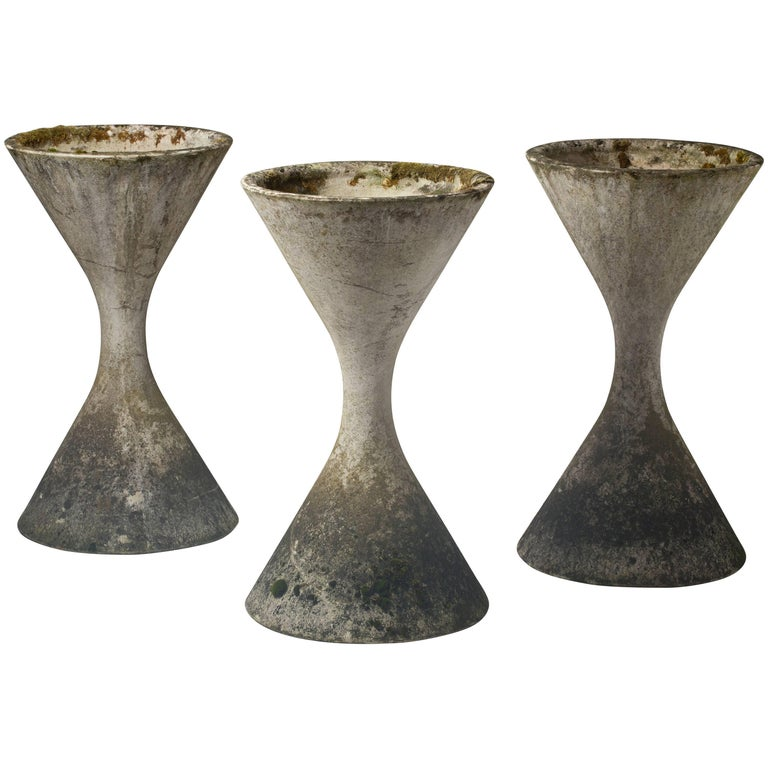 Three Planters by Willy Guhl, with Original Patina