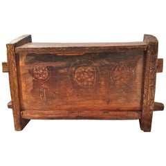 Primitive Hand-Carved Wooden Chest, Raute People of Nepal, Mid-Late 20th Century