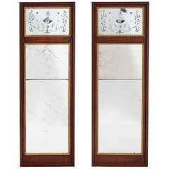 Good Pair of Danish Louis XVI Mahogany and Parcel-Gilt Mirrors, circa 1790