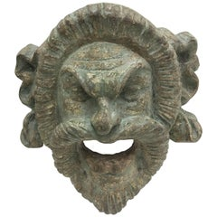 Italian Light Green Painted Wood Old Satyr Mask, circa 1900