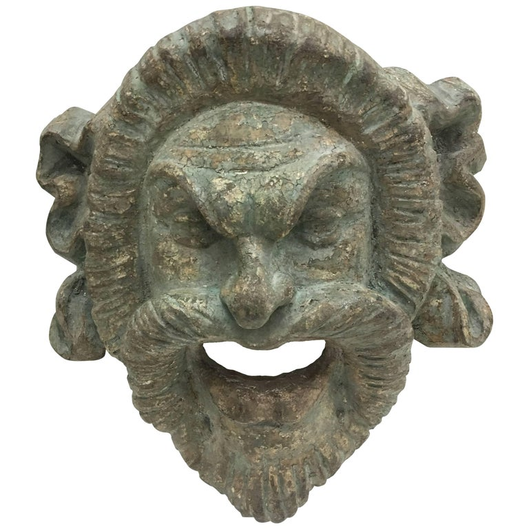 Italian Light Green Painted Wood Old Satyr Mask, circa 1900 For Sale