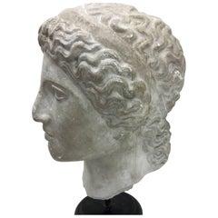 Neoclassical Plaster Roman Head, Italy, circa 1930