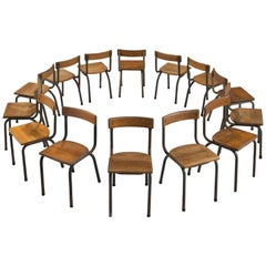 Willy Van Der Meeren Set of 14 Solid Oak Chairs for Tubax