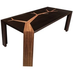 Angkor Wood Dining Table Smoked Oak and Walnut Tree Marquetry  by Olivier Dollé