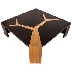 Angkor Coffee Table Smoked Oak Marquetry Natural Oak  by Olivier Dollé