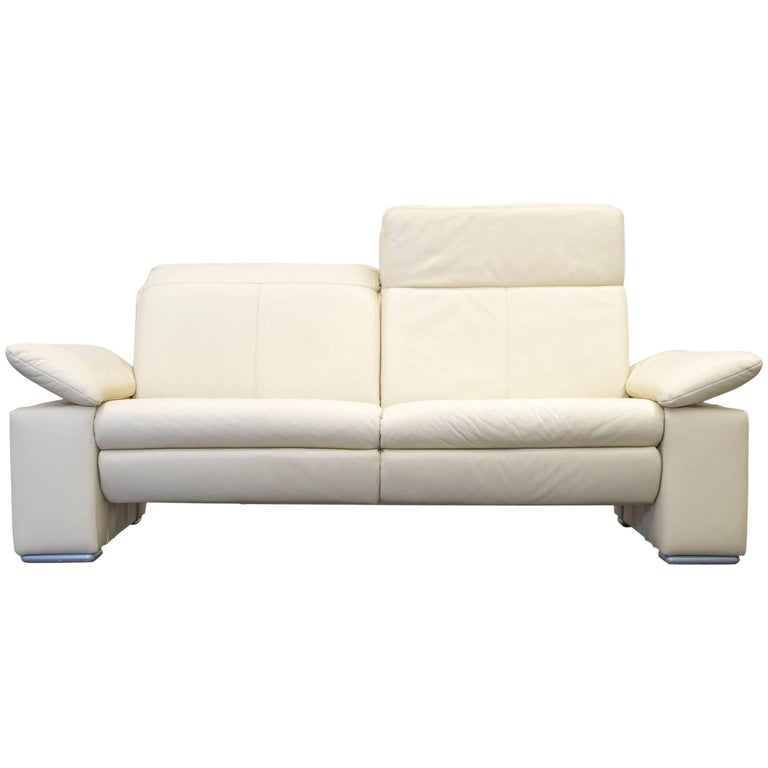 Musterring designer sofa leather beige three seat couch for Musterring sofa