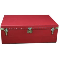 Louis Vuitton Red or Coated Canvas Trunk for Car, 1900s
