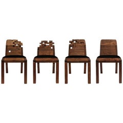 Contemporary Set of Pixel Chairs in Walnut by Olivier Dollé
