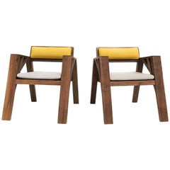 Contemporary Carpenter Armchair in Oak or Walnut By Olivier Dollé
