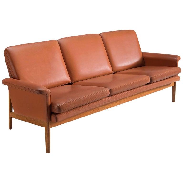 Finn Juhl 'Jupiter' Sofa in Cognac Leather and Teak