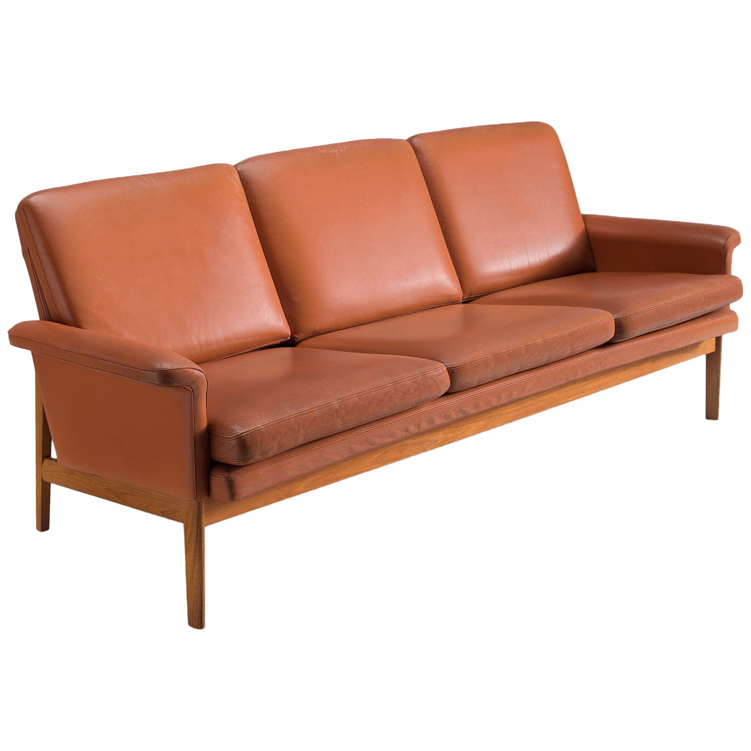 Amazing Finn Juhl Jupiter Sofa In Cognac Leather And Teak For Sale Alphanode Cool Chair Designs And Ideas Alphanodeonline