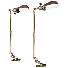Matched Pair of Polished Brass O C White Industrial Task or Work Lamps