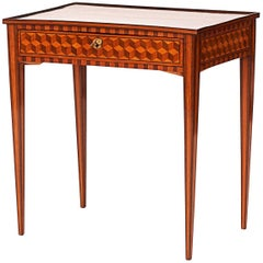 Fine Louis XVI Walnut, Lemonwood and Ebony Side Table, circa 1780-1790