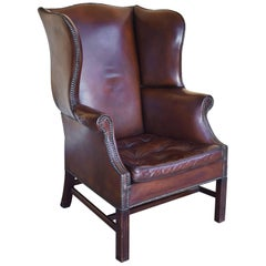 20th Century Georgian Style Hand Dyed Leather Wing Back Armchair