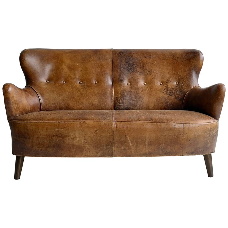 Cognac Leather Danish Sofa with a Rich Patina