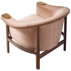 Johannes Andersen Lounge Chair with Pink Velours Upholstery