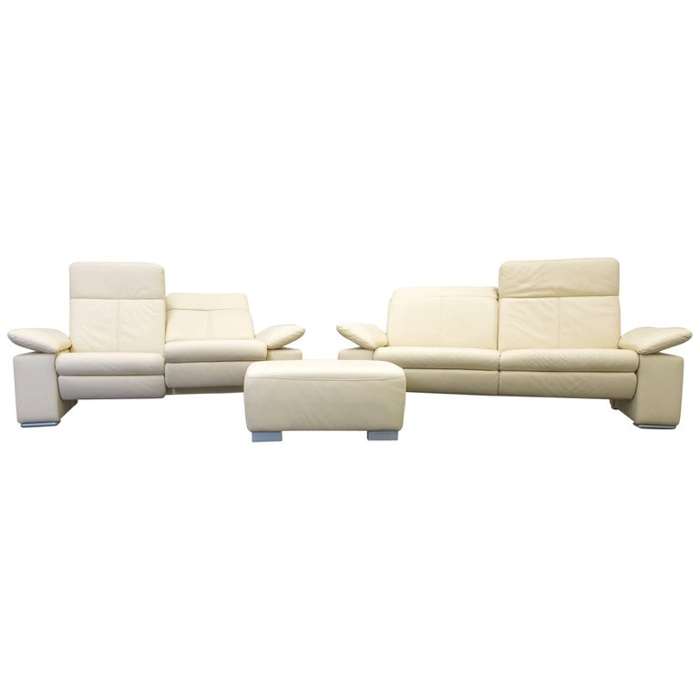 musterring designer sofa leather beige three seat couch modern for sale at 1stdibs. Black Bedroom Furniture Sets. Home Design Ideas