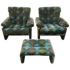Italian Set Coronado C&B by Tobia Scarpa, Pair of Armchairs and Ottoman, 1970s