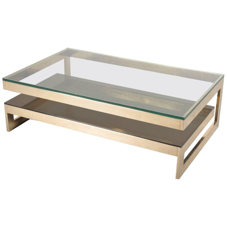 Gold Plated Coffee Table: 23 Carat Gold-Plated Coffee Table By Belgo Chrome, Belgium