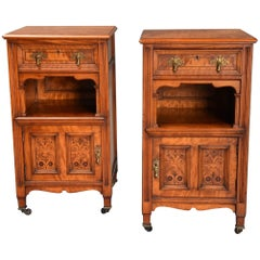 Pair of Late 19th Century Satin Birch Bedside Cabinets with Aesthetic Influence