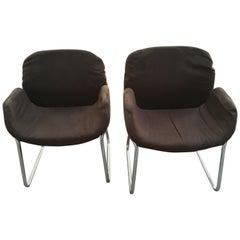 Mid-Century Modern Italian Pair of Chairs with Original Brown Fabric, 1970s