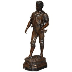 French Late 19th Century Large Bronzed Spelter Figure of a Farm Labourer