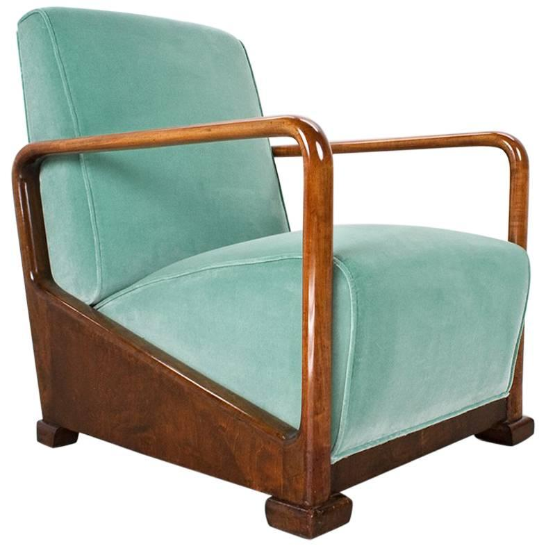 Ordinaire Art Deco Antique Elm Lounge Chair In New Velvet, 1934 Dutch Design For Sale