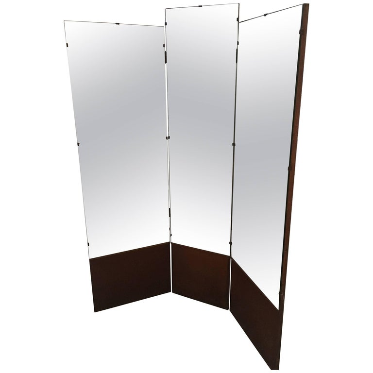 Italian Triptych Tailoring Dressing Mirror from 1960s with Wooden Base