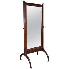 19th Century Mahogany Cheval Mirror