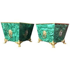Pair of Solid Malachite Gilt Bronze Jardinière Planter