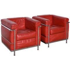 Le Corbusier Style, LC2 Easy Chair Red Leather by Cassina