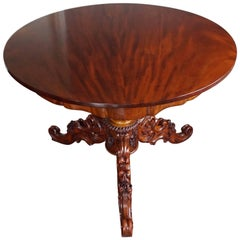 19th Century Mahogany Dining or Center Table with Hand-Carved Tripod Base