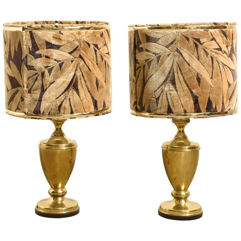 Brass Set of Two 1970s Table Lamps with Shades in Velvet