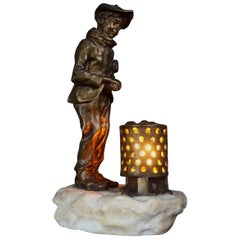 Antique and Signed Gilt Bronze Boy with Newspaper by the Fire Table or Desk Lamp
