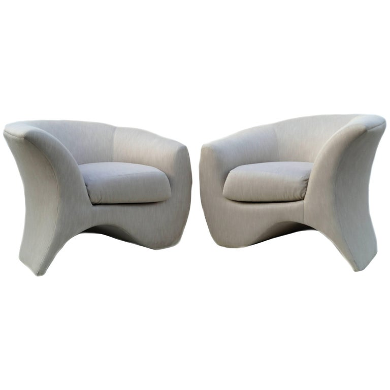 Pair of Vladimir Kagan Sculptural Hurricane Lounge Club Chairs