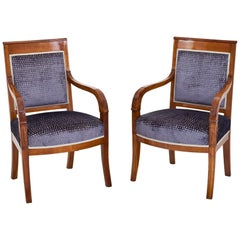 Pair of Cherrywood Armchairs France, First Half of the 19th Century