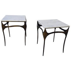 Pair of Organic Bronzed and Marble Side Tables