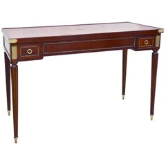 Unusual Louis XVI Style French Two-Drawer Tric Tac Table with Red Leather Top