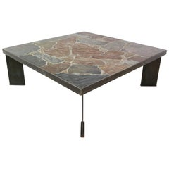 Brutalist Coffee Table with Slate Stone Top and Cast Iron Base, 1970s