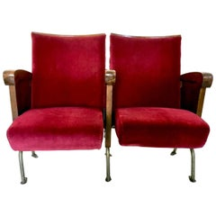 Pair of Red Velvet Cinema Seats by Ascol with Wooden Structure, Italy, 1950s