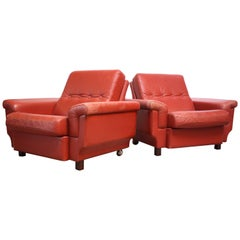 Pair of Danish Modern Lounge Chairs in Coral Leather