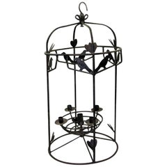 Five-Light Wrought Iron Chandelier with Birds