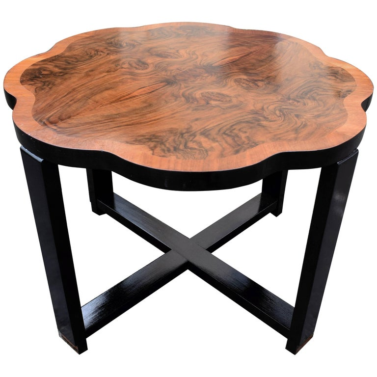 English Art Deco Walnut Centre Table