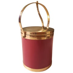20th Century Belgian Red Ice Bucket Made of Brass and Imitation Leather, 1970s