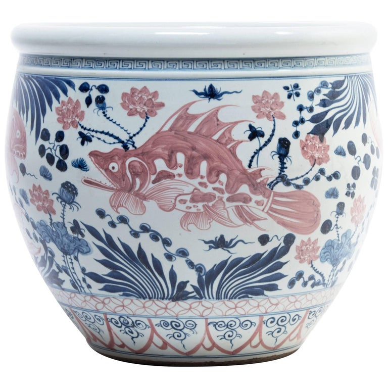 Chinese Underglaze Cobalt and Copper Fish Bowl